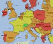 Vyššie DPH v krajinách Európy - vizualizácia na mape: aktualizované pre rok 2016